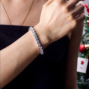 18K White GoldPlated Round Cut CZ Diamond Bracelet